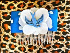 Rockabilly Blue Swallow  White Hydrangea Dot Hair by PunkUpBettie, $11.00