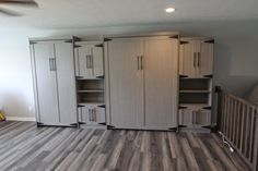 Our customer chose a Bedder Way Vertical XL Twin and Queen Melamine Modern Barn Murph bed in Haze with black modern handles along with cabinets. Modern Barn, Lockers, Locker Storage, Twin, Kitchen Cabinets, Queen, Gallery, Bed, Furniture