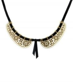 peter pan necklace - gold/black. MUST HAVE.