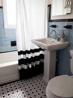 Before & After: The Happy Accident Bathroom Makeover — Renovation Project - Love that they used the original tile where they were able.