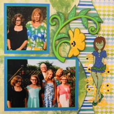 Family scrapbook page idea with flowers. Everyday Life Scrapbook 43 - Family & Summer - Me and My Cricut Scrapbook Page Layouts, Scrapbook Albums, Scrapbooking Ideas, Family Album, Making Out, Thats Not My, Diy And Crafts, Cricut, About Me Blog