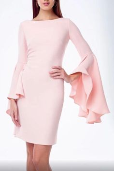 This Alberto Makali Ruffle Sleeve dress is elegant and simple with the right amount of detail in the sleeves.   Hit just above the knee with a tailored darted back to give a more fitted look to highlight the best part of your shape.   100% Polyester and Dry clean only.  Ruffle Sleeve Dress by Alberto Makali. Clothing - Dresses - Night Out Mexico