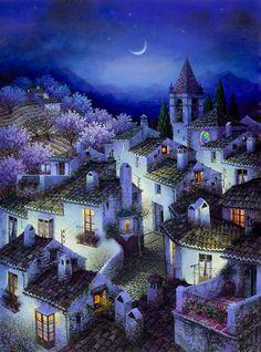 Nocturno azul. Luis Romero. Acrilico