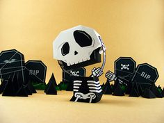 My Heaaaddd Diorama Paper Toy - by Salazad == A very original Paper Toy Diorama, by Indonesian designer Salazad. perfect for your Halloween decoration! Halloween Paper Crafts, Halloween Decorations, Halloween Skull, Fall Halloween, Origami Paper, Diy Paper, 3d Cuts, Art Jouet, Origami Templates