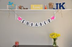 Engaged Banner  Pink & Black by JKreations2013 on Etsy, $15.50