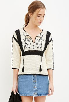 Forever 21 is the authority on fashion & the go-to retailer for the latest trends, styles & the hottest deals. Shop dresses, tops, tees, leggings & more! Mode Crochet, Knit Crochet, Forever 21, Shop Forever, Finger Crochet, Crochet Woman, Cardigan Pattern, Crochet Cardigan, Crochet Fashion