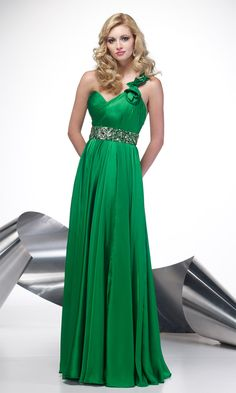 High Quality Green Chiffon Beaded Empire One Shoulder Prom Dress