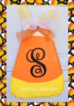 Halloween Monogram Candy Corn Door Hanger Sign - pinned by pin4etsy.com