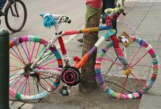 Knitting Projects, Crochet Projects, Street Installation, Bicycle Decor, Sewing Circles, Yarn Bombing, Bike Art, Environmental Art, Land Art