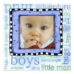 Baby boy photo and typography frame adoption day party invitation