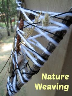 """""""In addition to nature weaving, the chapter on natural materials includes rock drawing, leaf collage, decorating sticks, using clay with natural materials and more."""" Deb - Go Explore Nature Nature Activities, Outdoor Activities, Activities For Kids, Crafts For Kids, Outdoor Fun, Outdoor Crafts, Outdoor Ideas, Natural World, Natural Play"""