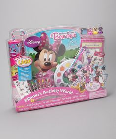 Playtime is perfect with this magnificent Minnie Mouse activity collection. With an amazing and adorable selection of supplies, this sweet set is sure to captivate the attention of little ones for days of delightful fun.Includes two activity storybooks, one tray with 10 watercolors, two paint brushes, one ink pad, three stampers, three foam stickers, eight rainbow crayons, one sticker tube with handle, six sticker sheets and a variety of stickers, puzzles, activities and coloring…