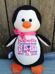 Monogrammed Baby Gift  Personalized Baby Gift Penguin Birth Announcement PERSONALIZED by World Class Embroidery