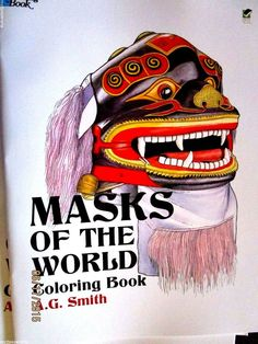 Masks of the World coloring book 2 sided, festivals theater Chinese Roman jj #62 #Dover