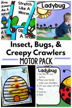Insect, bugs, and creepy crawlers motor activities. Gross motor and fine motor activities to go along with your insect unit can be found in this fun activity pack. Move like different insects, bugs, Insect Activities, Fine Motor Activities For Kids, Sensory Activities, Therapy Activities, Therapy Ideas, Sensory Play, Children Activities, Learning Activities, Insects For Kids