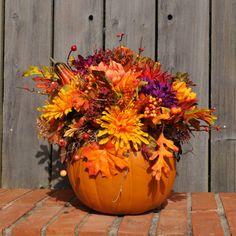 Autumn floral arrangements - Get creative, it's your wedding afterall! Pumpkin Floral Arrangements, Small Flower Arrangements, Fall Arrangements, Autumn Decorating, Fall Decor, Fall Mesh Wreaths, Pumpkin Planter, Church Flowers, Pretty Flowers
