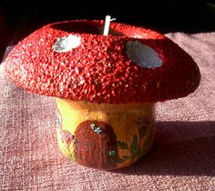 fairy mushroom house tealight holder. hand painted. by ArtZeeboze