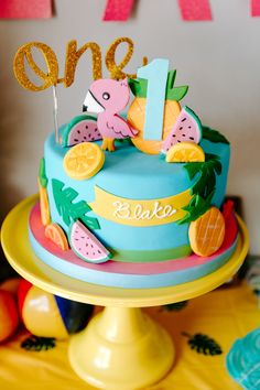 This Tropical Tutti Frutti Flamingle Party features bright and colorful party decorations, two birthday cakes, and pineapples, watermelons and flamingos. Second Birthday Cakes, Birthday Cake Girls, Birthday Party Favors, Birthday Party Decorations, Fruit Party, Party Party, Party Cakes, Fun Party Themes, Party Ideas