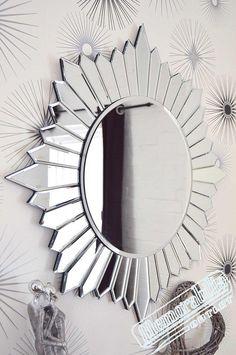 Large Modern Round Sunburst Design Venetian All Glass Wall Mirror Circular Mirror, Round Wall Mirror, Mirror Mirror, Arabesque, Fancy Mirrors, Decorative Mirrors, Mirror Artwork, Silver Walls, Living At Home