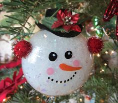 2003 glass snowman sparkle ear muffs, hand painted face and felt hat with added embellishments