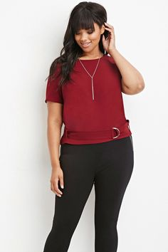 Plus Size Belted Texture Top | Forever 21 PLUS - 2000147443