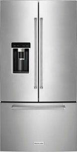 French Door Counter-Depth Refrigerator PrintShield stainless at Best Buy. Find low everyday prices and buy online for delivery or in-store pick-up. Best Counter Depth Refrigerator, Stainless Steel Refrigerator, French Door Refrigerator, Kitchen Appliances Brands, Kitchenaid Refrigerator, Glass Shelves, Cool Kitchens, Beautiful Kitchens, Trendy Tree