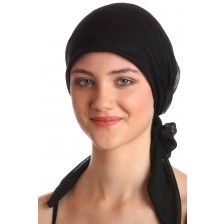 Organic Easy Tie Head Scarf - Black