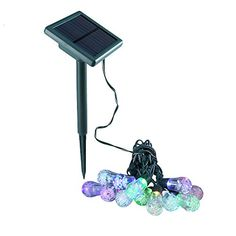 Solar Powered LED Waterproof Multi Color String Lights 12 Bulbs 17 Feet Decorative Lighting for Christmas Party Halloween Thanksgiving Holiday Garden Lawn Backyard Wedding * Want to know more, click on the image. (This is an affiliate link) #ChristmasSeasonalLighting
