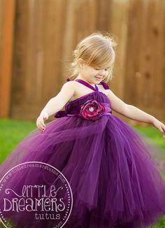 Plum Tutu Dress w/ Flower Sash by littledreamersinc on Etsy