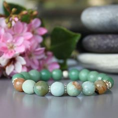 Amazonite, nephrite and sterling silver bracelet 🍀