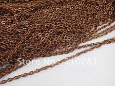 Free ship!!!Hot fashion 100meter 1.5mm by 2mm Antique copper findings jewelry bead making metal flat cable link chain US $53.68