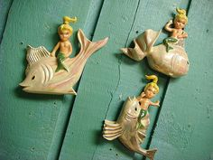 Baby Mermaids - Fun for the beach house bathroom or little girl's room.