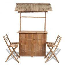 Giardino Set esterno banco da bar in bambù con 2 sgabelli ed 1 tavolo