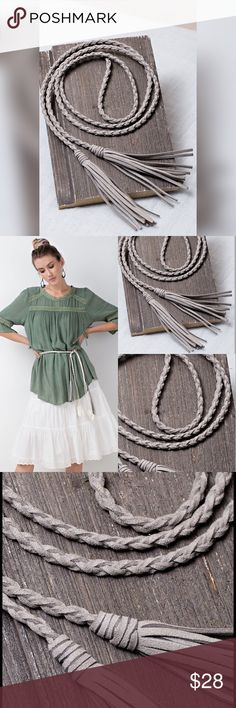 """GRAY BRAIDED BELT Braided leather tassel belt. Length is 60"""". All belts in 5th photo are available. Accessories Belts"""