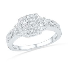 1/5 CT. T.W. Quad Diamond Vintage-Style Promise Ring in Sterling Silver