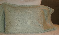 Moroccan inspired geometric pillowcases. High quality cotton sage green with lace trim. From Ferne 'n Pearl Etsy shop.