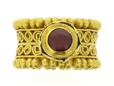 Byzantine garnet openwork ring, 8th century AD.