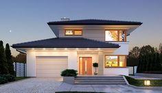 Projekt domu piętrowego Karat o pow. 157,99 m2 z garażem 1-st., z dachem kopertowym, z tarasem, sprawdź! House Layout Plans, House Layouts, House Plans, Plans Architecture, Architecture Design, Best Modern House Design, Modern Design, Facade House, Home Design Plans