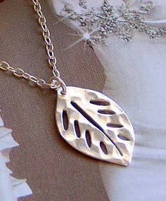 Leaf Necklace   Sterling Silver Cut Out Leaf Charm by lecollezione, $34.50