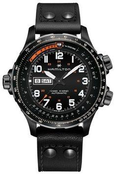 169a438f94e Hamilton Khaki X-Wind Automatic Chronograph Leather Strap Watch