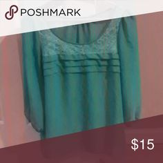Too big Mint green shear blouse Tops Blouses