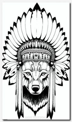 Native Tattoos, Wolf Tattoos, Leg Tattoos, Stomach Tattoos, Indian Tattoos, Indian Tattoo Design, Wolf Tattoo Design, Tattoo Designs, Wolf Headdress
