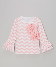 Take a look at this Pink Zigzag Floral Ruffle Tee - Infant, Toddler & Girls by Tutus by Tutu AND Lulu on #zulily today!