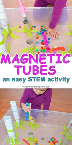 Magnetic Tubes Magnetic Tubes – HAPPY TODDLER PLAYTIME – This is a very fun and easy STEM activity for toddlers and preschoolers to explore the power of magnets to move metal objects up through cardboard tubes! Quiet Toddler Activities, Steam Activities, Kids Learning Activities, Toddler Preschool, Creative Activities For Toddlers, Nanny Activities, School Age Activities, Space Activities, Stem Learning