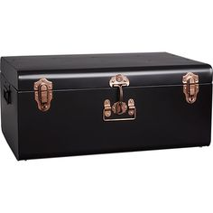 large matte black suitcase | CB2