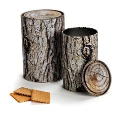 Woodstock Storage Containers are a set of two log shaped tins. Buy Woodstock Storage Containers and kitchen accessories from Mocha.