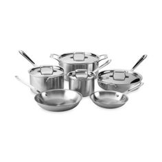 All-Clad d5 Brushed Stainless Steel 10-Piece Cookware Set and Open Stock - BedBathandBeyond.com