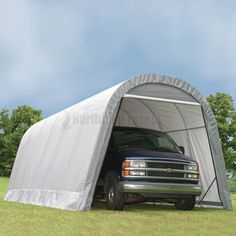 ShelterLogic 12u0027 X 24u0027 X 10u0027 RoundTop Steel Gray Garage Features A Triple