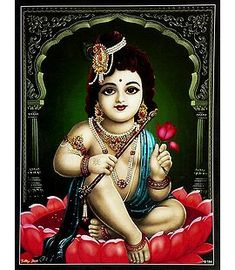 Krishna Sitting on Lotus - Hindu Posters (Reprint on Card Paper - Unframed) Krishna Avatar, Krishna Hindu, Krishna Leela, Cute Krishna, Jai Shree Krishna, Radha Krishna Photo, Krishna Radha, Lord Krishna Images, Krishna Pictures