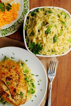1 cup orzo  1-1/2 cups chopped broccoli florets  1/4 cup shredded cheddar cheese  2 Tablespoons grated parmesan cheese  1 Tablespoon butter  1/4-1/2 cup 2% milk  salt